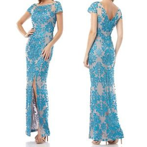 JS Collections 3D Leaf Embroidered Gown